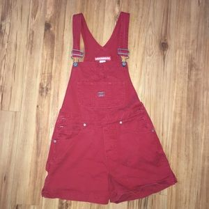 UnionBay red overall shorts